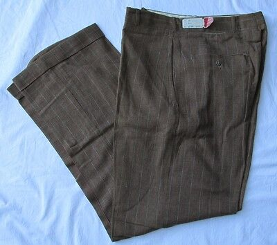 Vintage 1940s Mens Sampson Pants Wool Trousers NWT 30 31 Button Fly Pinstripe