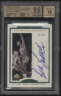 2000 UD Master Collection Bill Russell Auto Autograph /50 BGS 9.5 10