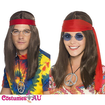 Hippy Mens Ladies Kit 1960s 60s 70s Groovy Hippie Brown Wig Costume Accessory