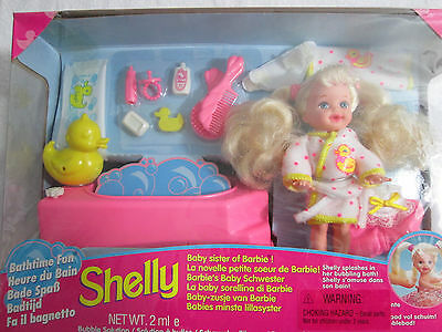 Bath time Fun Shelly Doll Barbies Baby Sister 1995 14552 Gift Set