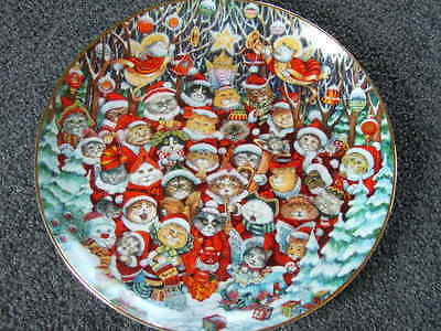 Franklin Mint Santa Claws Limited Edition Christmas Cats Porcelain Plate