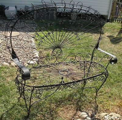 Antique Vtg Wrought Iron Bench Scroll Metal Patio Porch Furniture Love Seat