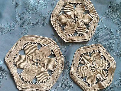 Three Beautiful Vintage Handmade Doilies