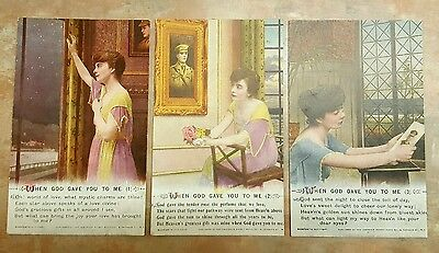 #5019  Set Of 3 WW1 Bamforth & Co LTD Song Postcards When God Gave You To Me