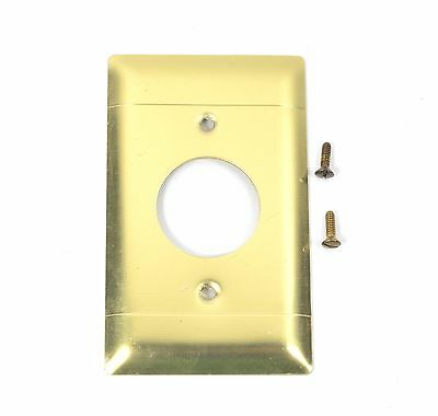 Vintage Brushed Brass - Single Hole Outlet Cover Plate - Round with screws