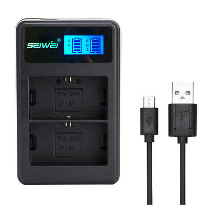 SEIWEI USB Battery Charger With LCD Screen Display For Camera Canon Battery