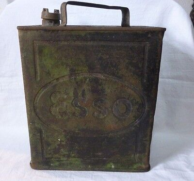 VINTAGE 1930/40's advertising ESSO fuel tin can,motoring,classic car,brass cap