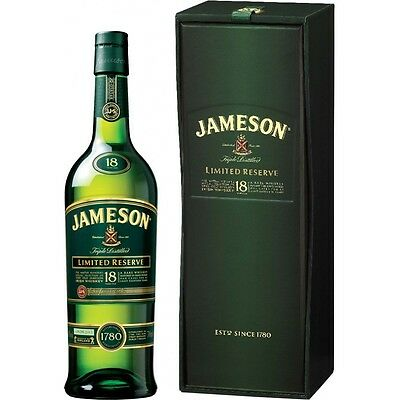 Jameson Limited Reserve 18 Year Whiskey Bottle and Box Case Green - Magnetic
