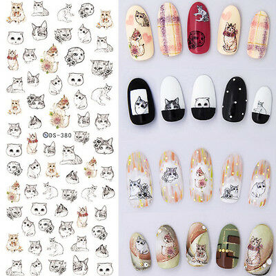 1 Sheet Nail Art Water Transfer Decal Manicure Sticker Lovely Cat Design Tips