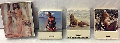 Lenticular Nude Matchbox & 3 Nude Matchbooks. Double Sided Risqué Matches