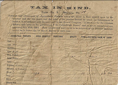 1864 Confederate Tax in Kind Document Lexington District S.C. Stuck Family