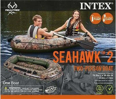 Intex Inflatable Realtree Camo Seahawk 2 Two-Person Boat with Oars & Pump