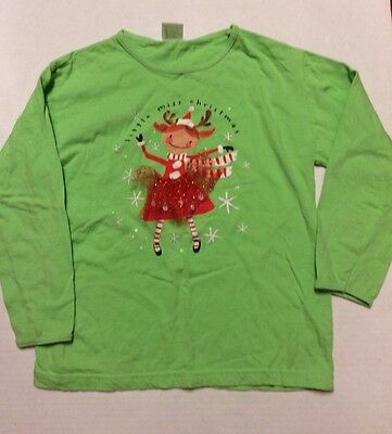 girl Little Miss Christmas shirt size 8-10 green long sleeve. so adorable!