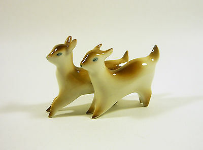 """Zsolnay, A Pair Of Art Deco Goats 3.5"""", Vintage Handpainted Porcelain Figurine !"""