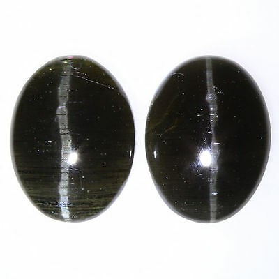 2.790 Ct VERY RARE FINE QUALITY 100% NATURAL SILLIMANITE CAT'S EYE INTENSE PAIR!