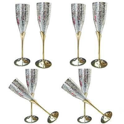 4 Pair Indian Silver Gold Plated Coated Brass Wine Goblet Glass Set Wholesale