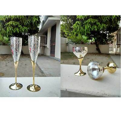2 Pair 1 Mini & 1 Big Silver Plated Coated Brass Wine Goblet Glass Set Wholesale