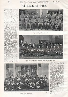 1897 ANTIQUE MILITARY PRINT- OFFICERS IN INDIA, KING'S OWN,7th HUSSARS,DURHAM IN
