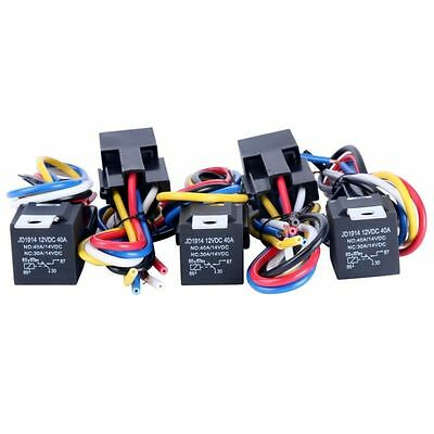 5pcs 12V 30/40 Amp DC SPDT Automotive Power Relay Wires Harness Socket