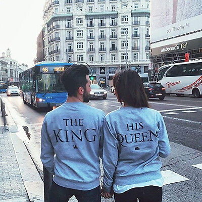 King & Queen Letter Print Couple T-Shirt Sport Tops Blouse Pullover Sweater