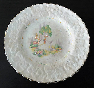 Vintage 30s Collector's England Alfred Meakin Cake Serving Plate Crinoline Lady