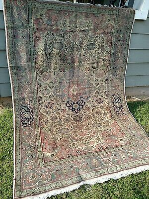 5 X 7.5 Antique Turkish Oriental Area Rug Hand Knotted Floral Medallion Wool