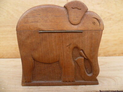 Vintage Old Hand Made Large Timber Elephant Cigarette Case, 'fold Out' (C198)