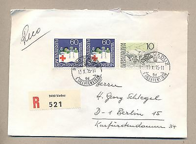 Liechtenstein 1975 Used R-cover.Send to West Germany.See scan.Lot 26.