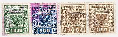 Austria old revenue stamps, fiscal duty tax Hungary Germany lot of 4