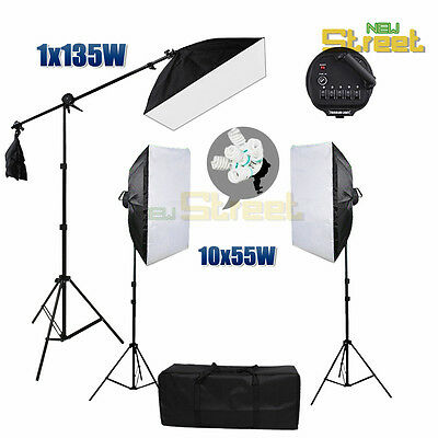 Photo Studio Continuous Softbox Lighting Video Soft Box Boom Arm Light Stand Kit