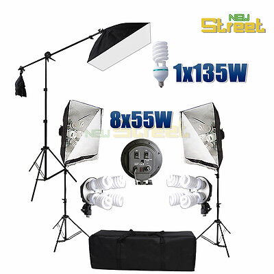 Photography Studio Softbox Continuous 4 Head Lighting Soft Box Light Stand Kit