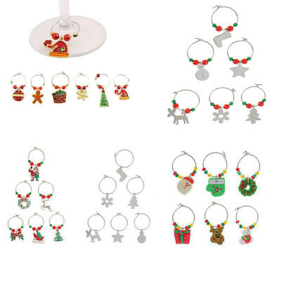 Set of 6 Christmas Wine Glass Charms Drink Markers Charm Rings Table Mark Tags