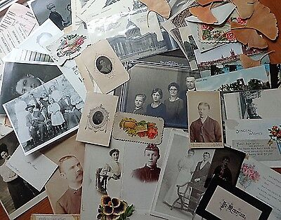 Lot 50 Victorian Ephemera Photos Tin Type Postcards Calling Holiday Cards Papers