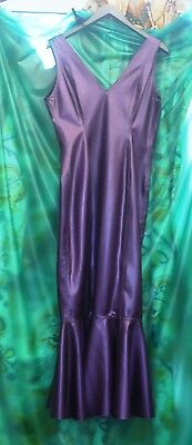 Ectomorph Ladies T/V full length Purple Latex fishtail evening party dress sz XL