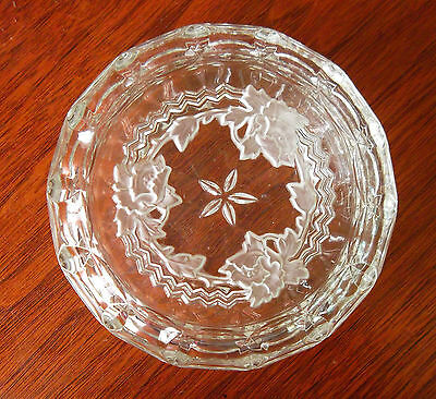 VINTAGE CUT GLASS ETCHED POWDER- PUFF BOWL:  Trinkets, Rings and stuff