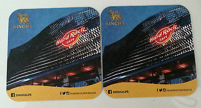 Beer Coasters Set Of 2 Sinhga Thailand Beer Hard Rock Cafe Great Collectors Set
