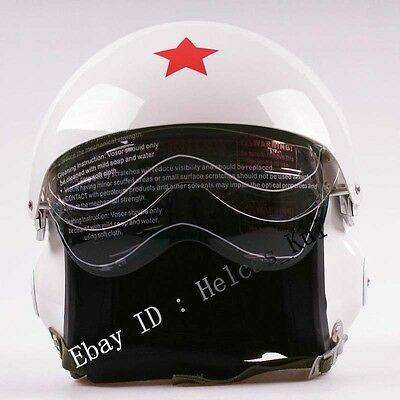 Jet Pilot Flight Helmet & Motorcycle/Scooter White Color Air Force
