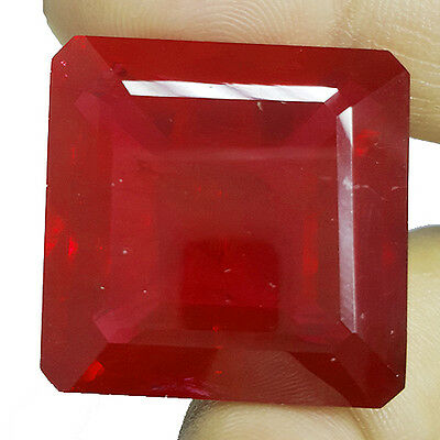 HUGE AND STUNNING 80.35 Ct SQUARE SHAPE BLOOD RED RUBY (LAB CREATED) CHATHUM