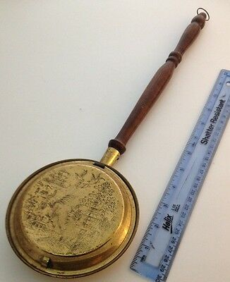 Miniature Brass Engraved Bed Warming Pan With Wood Handle