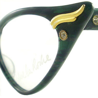 Vintage Cat Eye Glasses Eyeglasses Sunglasses New Frame Eyewear Green And Black