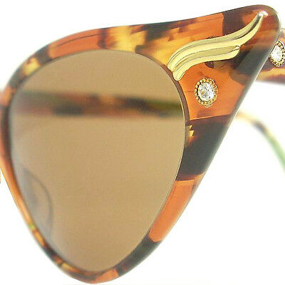 Vintage Cat Eye Glasses Eyeglasses Sunglasses Frame Eyewear Marbled Brown Green