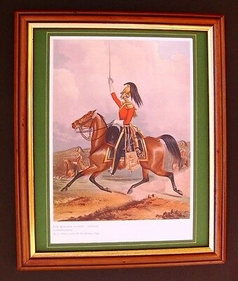 RARE ANTIQUE FRAMED RARE 1909 REPRINT OF AN OFFICER OF THE 6th DRAGOON GUARDS