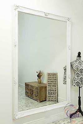 Large Abbey White Antique Style Wall Mirror 6ft7 x 4ft7 (200cm x 140cm)