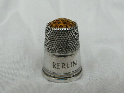 Thimble solid silver crystal / glass top Berlin Germany enamel rare antique