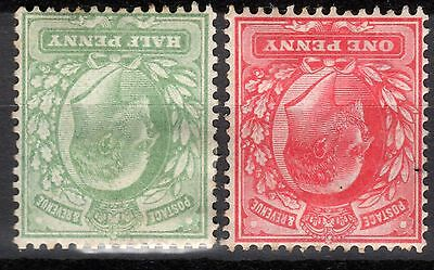 (438) VERY GOOD EDVII 1/2d & 1d INVERTED WATERMARK HEAVILY MOUNTED MINT