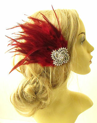Burgundy Red Silver Feather Fascinator Headpiece Diamante Hair Clip Vintage 1160