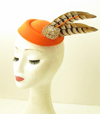 Orange Brown Gold Pheasant Feather Pillbox Hat Fascinator Vtg Races Hair 1161