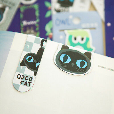 BLACK Cute CATS Magnetic Bookmark Paper Clip Bookmark School Office Supply