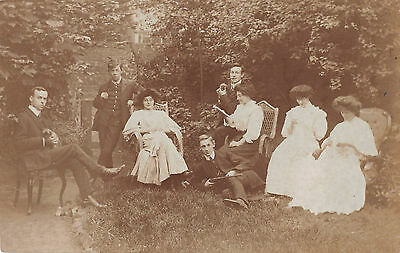 c1910 RP PC~ EDWARDIANS POSE with PUPPY DOGS & GUN ~ STRATFORD / MANOR PARK AREA