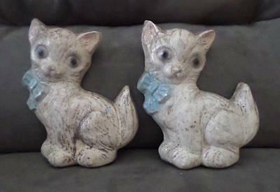 Lot of 2 Vintage 1940's Cats w/blue Bowties Chalkware Wall Hangings ~ FREE Ship!